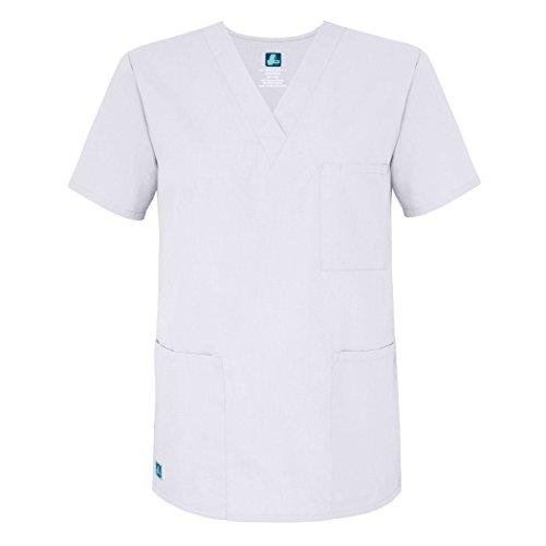 Adar Uniforms Medizinische Uniformen Unisex Top Krankenschwester Krankenhaus Berufskleidung - 601 - White - M