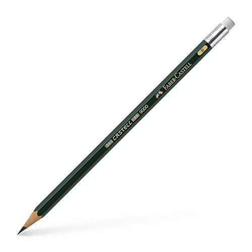 Faber-Castell 119201 - Bleistift Castell 9000 mit Gummitip, Härtegrad B