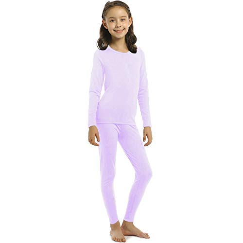 ViCherub Girl's Thermal Underwear Set Kids Long Johns Fleece Lined Base Layer Top & Bottom Thermals for Girl Lavender Small