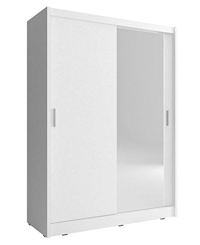 Kleiderschrank mit Spiegel Schrank Gaderobe Schiebtüren Borneo A1 (Weiß, 130 cm)