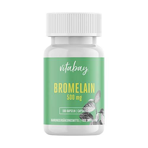 Vitabay bromelaine 500mg 1200 F.I.P, enzyme naturelle de l'ananas, dosage élevé - 100 capsules végétaliennes