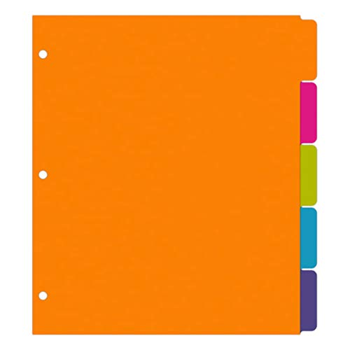 Office Depot Brand Fashion Paper Dividers, Letter Paper Size, 9' x 11', Assorted Neon Colors, Pack of 5 Dividers