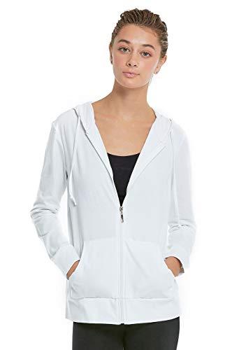 Women's Zip Up Cotton Light Hoodie Jacket Plus Size (XL,White)