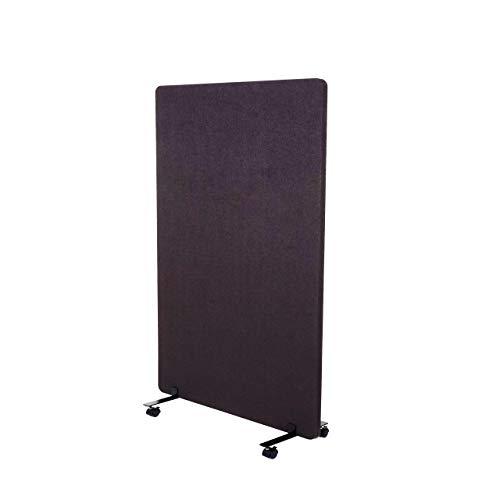 Mendler Akustik-Trennwand HWC-G77, Büro-Sichtschutz Raumteiler Pinnwand, doppelwandig rollbar Stoff/Textil - 127x80cm braun-grau