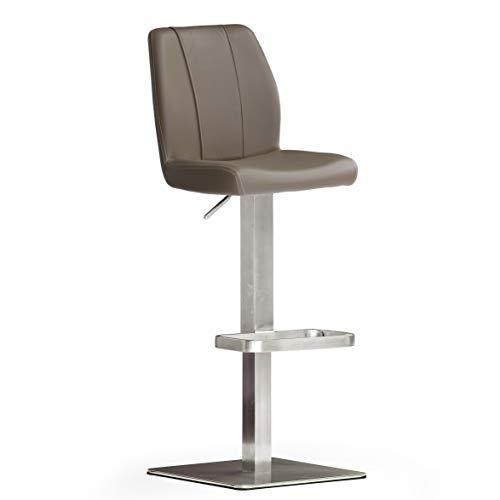 Robas Lund NA.OMI Chaise de bar/Tabouret de bar, PU/Inox, carré/tournable 180°, environ 41 x 89-114 x 52 cm, cappuccino