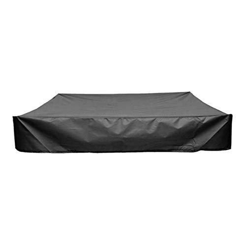 DJLOOKK Cubierta cuadrada para arenero, resistente al agua, a prueba de polvo, protección UV, cubierta de piscina cuadrada con cordón para arenero, juguetes y muebles, color negro, 200 x 200 x 20 cm