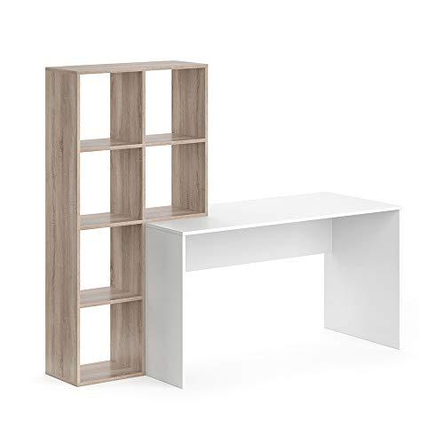 Vicco Schreibtisch + Regal Mara Raumteiler Computertisch Arbeitstisch Bürotisch (Weiß/Sonoma)