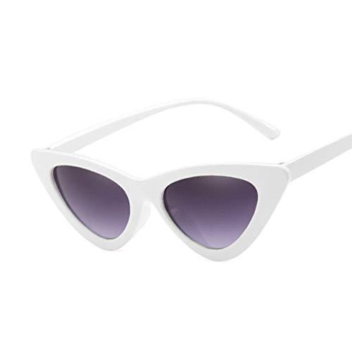 QYV Gafas de Sol Vintage para Mujer Gafas de Sol Retro Espejo Triangular de Moda Femenina,WhiteDoublegray