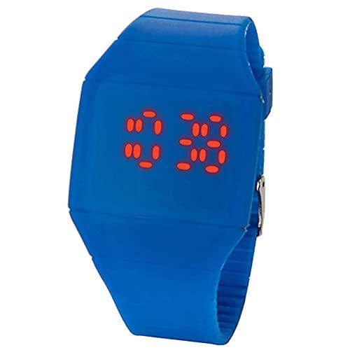 Reloj digital deportivo, a la moda, impermeable, con retroiluminación LED, multifunción, para hombre y mujer, de silicona, digital, deportivo, ultrafino, para hombre, color azul zafiro