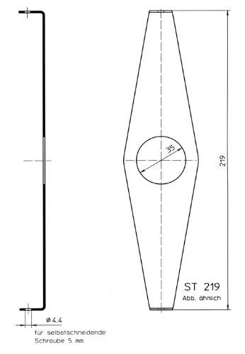 DEKAFORM Befestigung- Halterung Steckbrille ST-219 für Fahrrad Kettenschutz nachträglich montieren, nachrüsten bis 48 Zähne Kettenblatt * 219 mm verzinkt