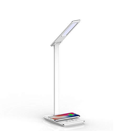 TerraTec ChargeAIR Light Schreibtischlampe 5W dimmbar LED Tischleuchte 4 Farbtemperaturen, Faltbare Tischlampe, 10W Wireless QI, USB Port, mit Berührungssteuerung – weiß/Silber