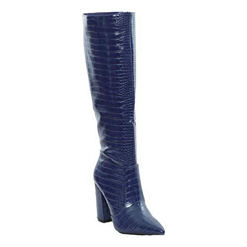 Toocool - Botas de mujer con punta de cocodrilo y rodilla, tacón alto, X8062 Rojo Size: 36 EU