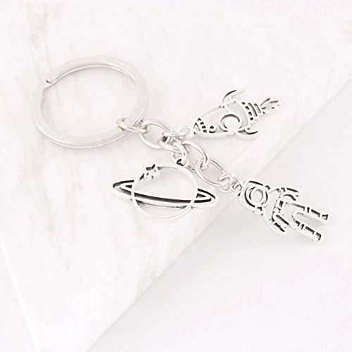 MENGYUE 1Pc Rocket Spaceship Alien Ufo Keychain Planet Astronaut Pendant Keyholder Fit Friend Gift Jewelry