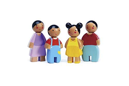 Tender Leaf Toys Sunny Doll Familie für Puppenhaus mit Mama, Papa und zwei Kindern - Inspirieren Sie fantasievolles Spielen für 3+