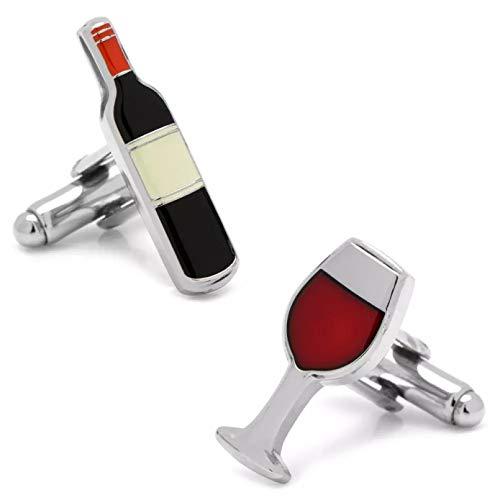 YAMAO Hombre Camisas Gemelos,Botella de Vino y Gemelos de Vidrio Color Rojo Calidad Material de latón Diseño de Vino Tinto
