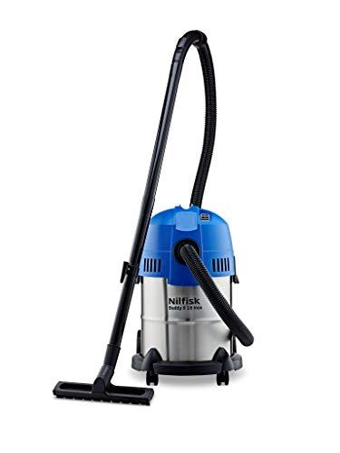 Nilfisk Buddy II 18 INOX EU Nass-/Trockensauger, für die Reinigung im Innen- & Außenbereich, 18 Liter Fassungsvermögen, 1200 W Eingangsleistung (Blau)
