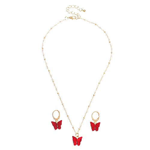 SDCAJA 3 PCS Jewellery Set for Women Multicolor Butterfly Necklace Earrings Set Temperament Butterfly Jewelry