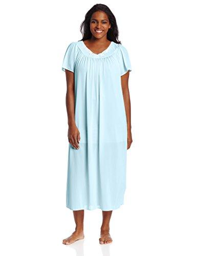 Miss Elaine Women's Plus-Size Tricot Long Nightgown, Sea Foam, 1X