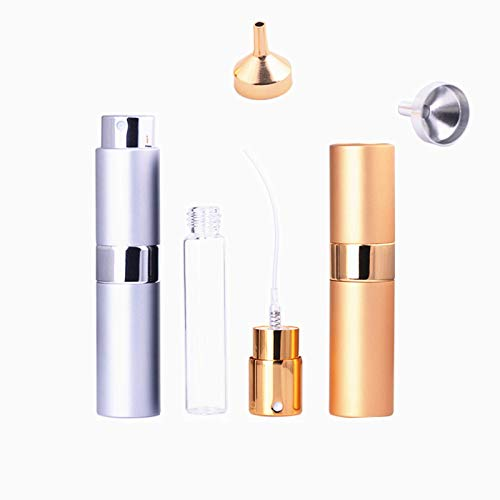 2 Pack 15ml Atomizers Bar Mister with Refillable Canister and 2 Pcs Funnel for Vermouth Spray Glass Canister with Portable Rotating Aluminum CaseSprayer Refillable Containers - GoldSilver
