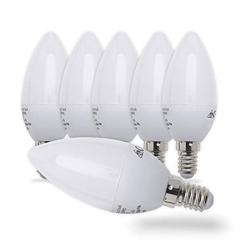 B.K.Licht 5er Set 5W LED-Birnen I Energiesparende Leuchtmittel mit E14 Fassung für drinnen I Ersetzt 40W Halogen-Lampe I Kerzenform I 470 Lumen I 3000K warmweiß