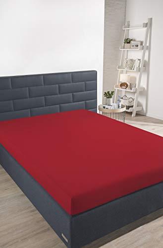 Schiesser Spannbettlaken, 100% Baumwolle, Rot, 180 x 200 cm