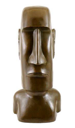 Figura de bronce–moái/piedra Koloss de la Isla de Pascua–Firmada por Milo–moái Escultura–moái cabeza