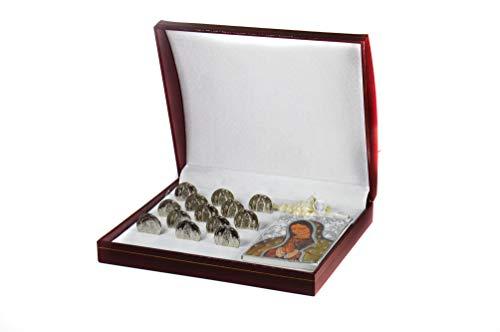 Wedding Unity Coins Decorative Magnetic Display Case - Classic Silver-plated Ceremony Arras Set - Box Lady of Guadalupe & Prayer Book Libro de Oracion – Arras de Boda Matrimoniales