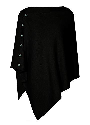 PULI Damen Schal Poncho Decke Cape Cardigan Kaschmir/Kaschmir Wickelschal für Frühling Sommer Herbst, Schwarz, Gr. Einheitsgröße