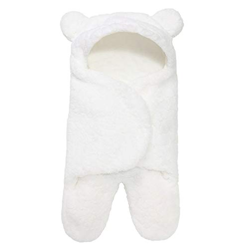 WOIA Saco de Dormir para bebé, Forro Polar Esponjoso Ultra Suave, Manta de recepción para recién Nacidos, Infantil, Blanco, 3M