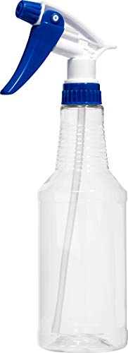 BAR5F Empty Plastic Spray Bottles 16 Ounce, Clear, Chemical Resistant with Blue-White Sprayer for Chemical and Cleaning Solution, Adjustable Head Sprayer from Fine to Stream (Pack of 1)