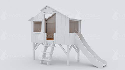 Hyggelia Kinderbett Bett aus MDF und Jowisz Holz, Baumhaus mit Rutsche, für Kinder, für Jugendliche, Perfekter Schlaf (90 x 200cm, Natürliches Holz)
