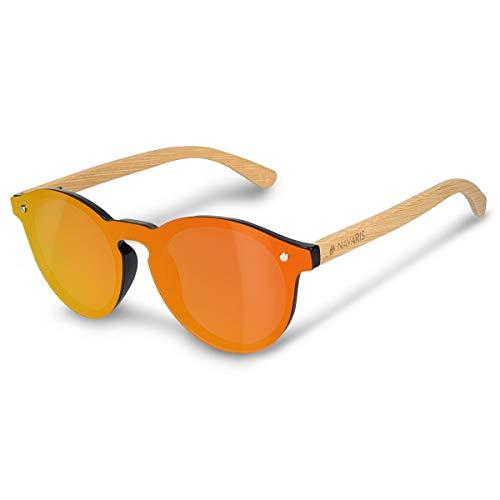 Navaris Occhiali da sole in bambù UV400 - lenti polarizzate colorate in acrilico - Occhiale unisex con custodia in bamboo - donna uomo - arancione