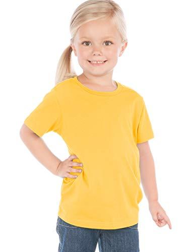 Kavio! Toddlers Crew Neck Short Sleeve Tee Jersey (Same TJC0440) Yellow 3T