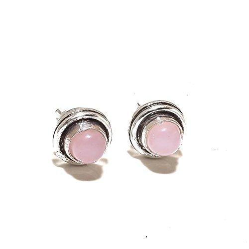 ¡Cuarzo rosa rosa TACÓN/PENDIENTE Para niñas 4 mm, Ropa formal, HECHO A MANO Chapado en plata de ley oxidada, joyería de Shivi.