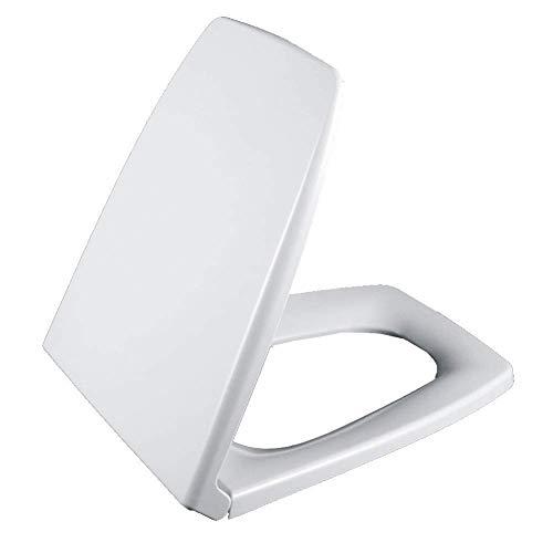 Asiento de Inodoro Cuadrado de Cierre Suave, bisagras de fijación Superior de liberación con un botón, fácil de limpiarpara el baño del Inodoro (Color: Blanco)