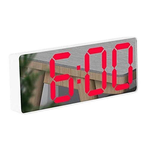 Reloj Digital LED,Acrílico/Espejo Reloj Digital LED Control de Voz Tiempo de Repetición Visualización de Temperatura Modo Nocturno Relojes de Alarma Digitales