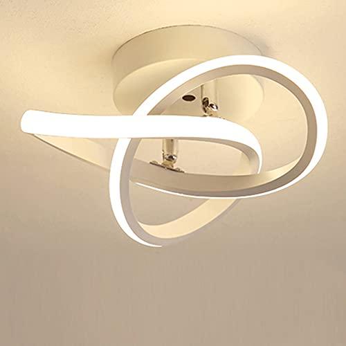 Plafonnier D'allée LED personnalité Moderne Anneaux Design Lustre Plafonnier pour Salon Chambre Coucher Noir Et Blanc Lumière Chaude 22W (White)