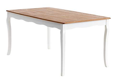 Dynamic24 Esstisch 90x160cm Küchentisch Tisch Shabby Chic Echtholz Furnier Esche weiß