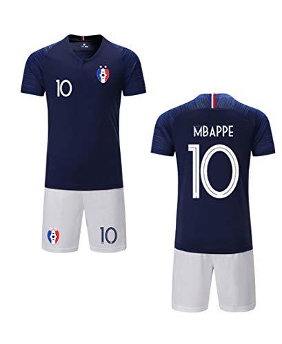 ZIGJOY Maillots de Football Enfants de France Soccer Jersey 2018 Coupe du Monde France 2 Étoiles Football T-Shirt et Short MBAPPE10 BW Child 26