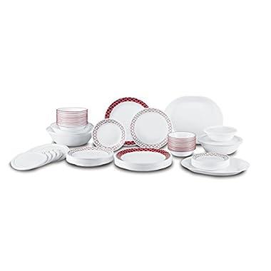 Corelle Livingware 74 Piece Crimson Trellis Dinnerware Set, White