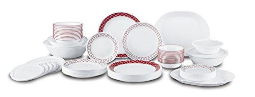 Corelle 1123686 Livingware 16-Piece Dinnerware Set, Crimson Trellis, Red/White