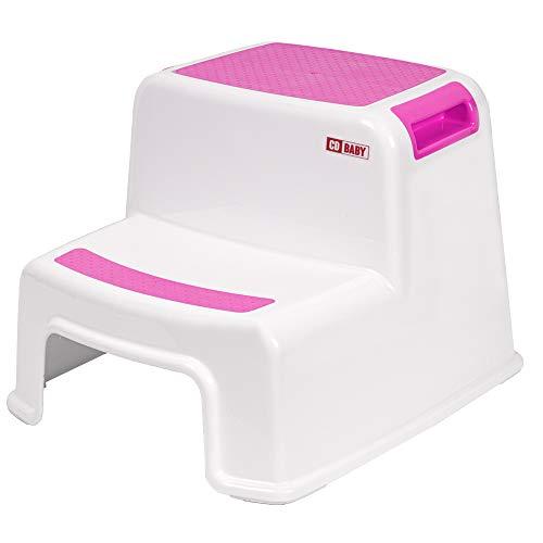 Calma Dragon Taburete para Niños con 2 Peldaños, Escalón Infantil para el Baño o para la Cama, con dos Escalones para el Lavabo, Escalera, Seguridad (Rosa)