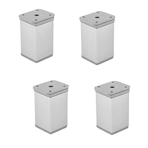 Gedotec Möbelfüße Aluminium Schrankfüße höhen-verstellbar - Modell KATRIN | Höhe 75 mm | Fußrohr eckig 40 x 40 mm | Sockelfuß +15 mm verstellbar | Alu silber eloxiert | Möbelbeschläge | 4 Stück