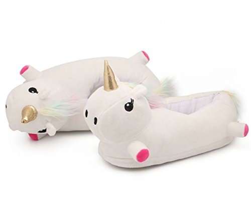Katara knuffelige pluche eenhoorn-huisschoenen, pantoffels Einheitsgröße 36-44 wit/kleurrijke manen.