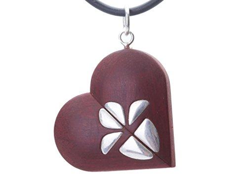LMWood El medallón del ilusionista, Collar medallón de la Imagen, medallón en Forma de corazón, medallón del medallón Hecho a Mano de Madera