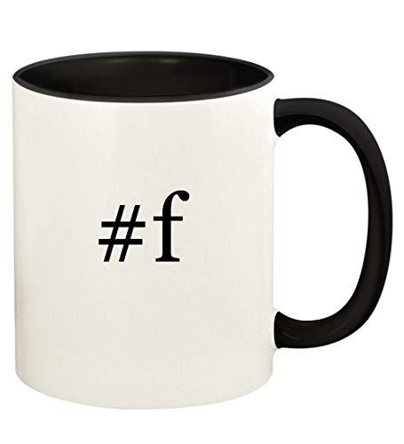 #f - 11oz Hashtag Ceramic Colored Handle and Inside Coffee Mug Cup, Black