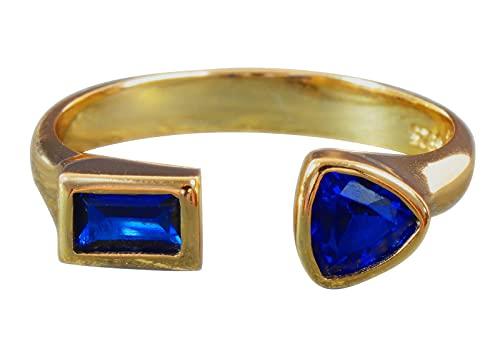 NicoWerk Anillo de plata de ley 925 para mujer, estrecho, dorado con piedras azules, circonitas, ajustable, abierto SRI728