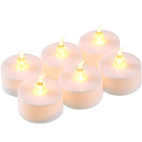 6 Pieces LED Flameless Light Battery Operated Electric Fake Candle Soft Flickering LED Tealight Candles in Yellow, Candles Decoration for Christmas Valentine's Day Easter Wedding, 1.4 x 1.5 Inch