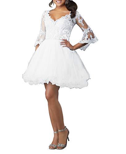 HUINI Ballkleid Damen Kurz Abendkleid Cocktailkleid Elegant Spitzen Abiballkleid mit Ärmel A-Linie Abschlussballkleid Weiß 36