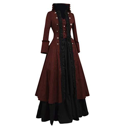 PPangUDing Mittelalter Kleid,Damen Retro Gothic Steampunk Viktorianischen Prinzessin Renaissance Zweireiher Cosplay Uniform Abendkleider Partykleid Für Fasching Hochzeit Karneval